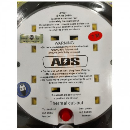 ADS 5M/7M Extension Cable Reel with 4 way socket outlets